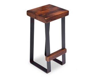 Bar Stool - Counter Stool - Island Stool - Metal Stool - Reclaimed Wood - Steel  Legs - Industrial Stool - Rustic Stool - Kitchen Stool