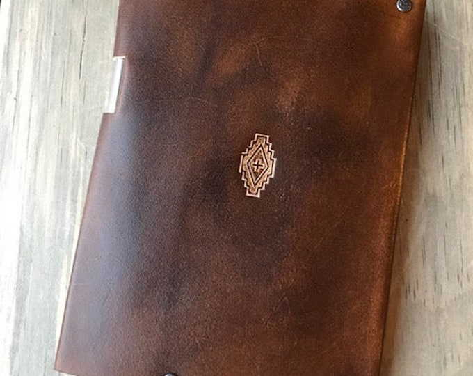 Leather Journal with Aztec Stamp and Walnut Finish (for 5 x 7 Notebook)