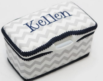Personalized Wipes Case Tub - Grey Chevron with Navy