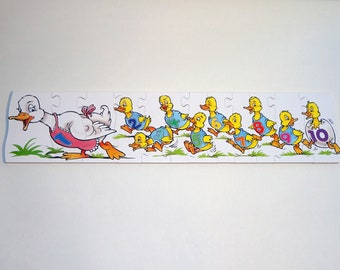 Childrens wooden jigsaw puzzle - Educational kids gift - Counting ducks