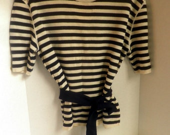 vintage UNGARO wool sweater, Made in Italy, striped, size Women's Large