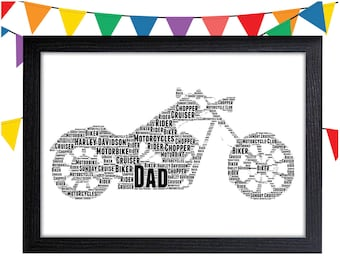 Harley Davidson Gift Personalized Gift Wall Art Wall Prints Art Wall Decor Motorcycle Gifts For Him Personalised Gift Wall Art Prints
