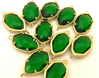 Lot of 4 Pcs Faceted Emerald Green  Connector For Necklaces & Bracelets Supplies Bezel Golden Color