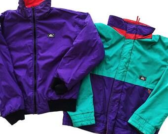 WOOLRICH 80s Vintage Colorful Colorblock Rare Reverisble 3 in 1 Zip Up Ski Jacket Coat Men's Medium