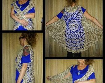 Ladies Crochet premade tan Off white light dusty green long circle vest mandala