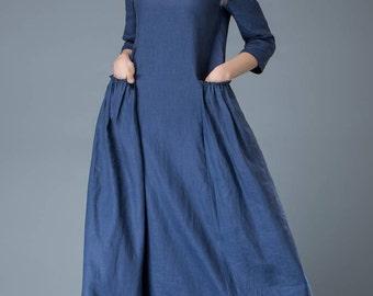 Linen Dress, womens dresses, Maxi dress, plus size dress, cobalt blue dress, linen maxi dress, plus size clothing, linen dress causal C803