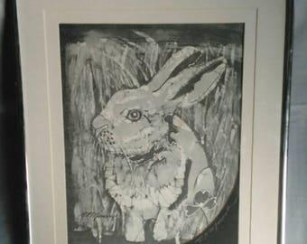 Batik lithograph bunny rabbit hare print BP Munson