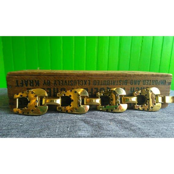 Vintage 1970s Brass Link Horseshoe Bracelet Good Luck Charm