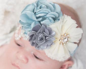Light blue headband, toddler headband, grey headband, flower girl headband, baby headband, flower headband, ivory headband, vintage headband