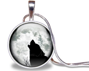 Wolf Necklace, Wolf Howling Necklace, Wolf Pendant, Full Moon Necklace, Glass Tile Necklace, Wolf Jewelry, Wolf Gift, Silver Plated Necklace