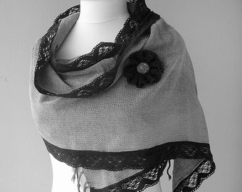 PROMOTION PRICE- DARK GREY PEWLET PURE SOFT 4 SEASON FABRIC SHAWL WITH BLACK CROCHET POINT LACE WITH SET OF HANDMADE BROOCH