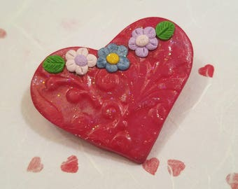 Heart Pin Brooch, Heart with Tiny Flowers, Red Heart Jewelry, Handmade Polymer Clay