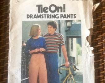 Vintage 1977 Butterick Patttern 5239-Men's Drawstring Pants-Size 34.