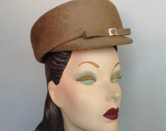 ON SALE:  Vintage Inspired Beige Pillbox Cap with Rhinestone Buckle and Bow Trim