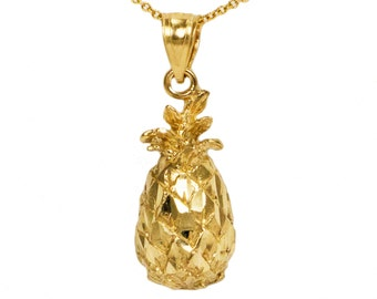 14k Yellow Gold Pineapple Necklace
