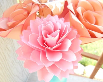 Peach & Pink Paper Flowers, Half Dozen. Other Colors Available. Centerpiece, Wedding, Paper Flower Bouquet