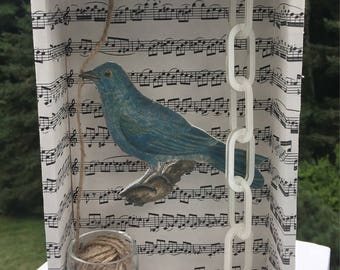 Box assemblage collage by Cindy Bussiere blue bird with twine glass and white chain