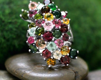 Multicolor Tourmaline Cluster Cocktail <Prong> Solid 14K White Gold (14KW) Colored Stone Estate Ring *Fine Jewelry* (Free Shipping)