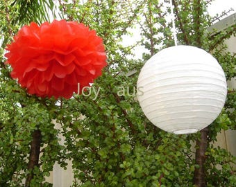 Red Tissue Pom Poms & White Paper Lanterns for Wedding Engagement Anniversary Birthday Party Bridal Shower Decoration