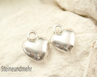 2x Heart Bulge Antique silver plated art. 3432