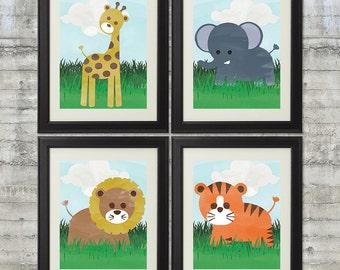Jungle Nursery Art Set of 4-  8x10 Prints , Featuring Giraffe, Elephant, Lion and Tiger- Zoo Theme Nursery And Zoo Animal Wall Art
