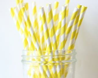 Yellow Party Straws, Yellow Paper Stripe Straws 25, Yellow Wedding Decor, Bright Yellow Straw, Rustic Wedding, Party Straws, Paper Straw