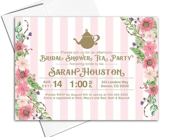 Tea party invitation printable, spring wedding shower invite floral, pink and gold, printable or printed - WLP00608