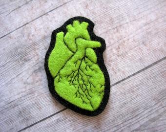 EKG anatomic heart felt brooch atom radioactive nuclear