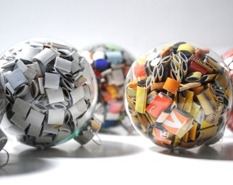 Large glass ornaments- made from recycled magazines,red, blue, green, yellow, orange, multi-colored, white