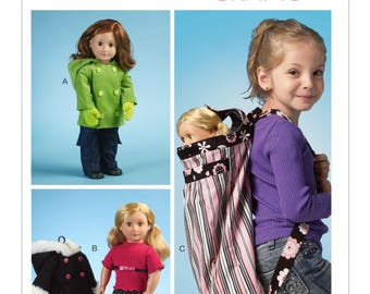 """McCalls 6854 - 18"""" Doll Clothes & Backpack"""