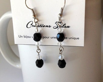 Black and crystal earrings, Swarovski earrings, Fasceted beads earrings, Mode earrings, Fashion earrings (BO115)