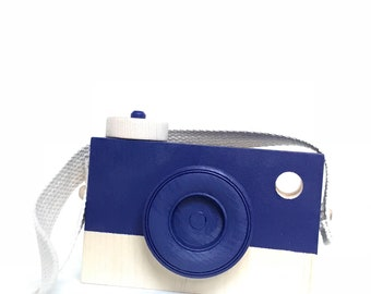 NAVY PLAY CAMERA, shelf decor,  photo prop,  imagination play, wooden toys