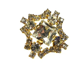 Clear rhinestone button, gold tone metal frame square prong set 1pc