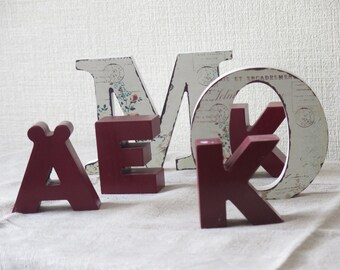 Set of 6 Wood Letters for Home Decor, Wood Alphabet for Craft Projects @133