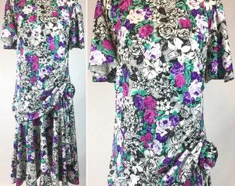 Vintage Floral Print Dress in Black and White, Pink Purple Flowers, Teal Green Leaves - Drop Waist, Rosette, Draping, Full Skirt - Med Large