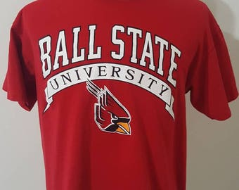 Vintage Red Logo 7 NCAA Ball State University Shirt Size XL Made In USA