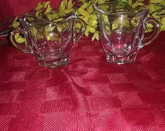 Vintage beautiful glass Cream and Sugar Set