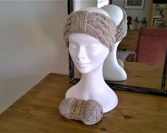Pure headband hand knitted Alpaca headband cable