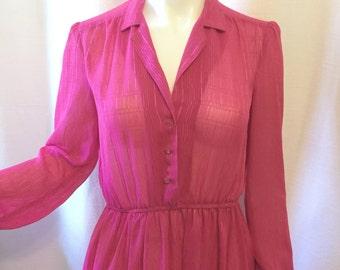 Sheer Magenta Vintage Dress