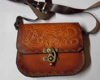 Tooled vegetable tanned leather shoulder bag handbag