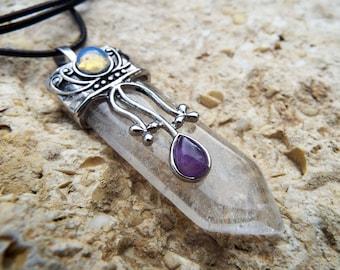 Clear Quartz Pendant Amethyst Opalite Silver Pendulum Gemstone Handmade Necklace Jewelry