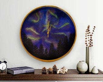 Northern lights painted wall clock, Hand painted  Wall Clock, Galaxy wall clock, Large copper color wall clock, wall clock with copper hands