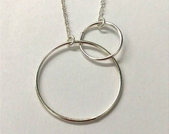 Sterling Silver Necklace Infinity Necklace, Circle Necklace, Sterling Silver Jewelry, Accessories ST004