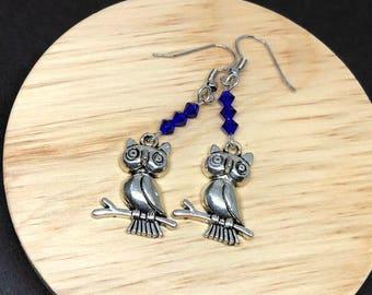 Owl Earrings| Owl Jewelry| Owl Gifts| blue crystal earrings| blue owl earrings| jewelry for mom| anniversary gift| birthday gift