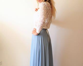 Maxi Skirt | Dusy Blue Chiffon skirt | Bridesmaid skirt | Full skirt| Long Boho skirt | Bohemian skirt | Vintage skirt | Bridesmaid dress
