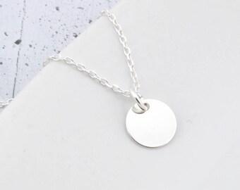Sterling Silver circle Necklace, circle Charm Necklace, Tiny circle, Silver circle, circlePendant, Little circle,