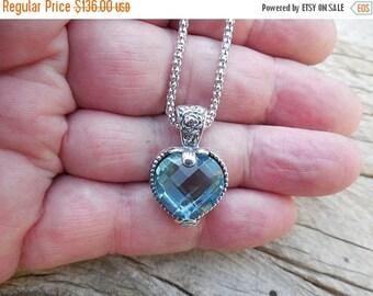 ON SALE Beautiful Sky blue topaz heart necklace handmade in sterling silver