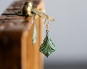 Victorian Drop Earrings Art Deco Patina Earrings Verdigris Dangle Earrings Vintage Inspired Earrings Victorian Jewelry Patina Jewelry - E342