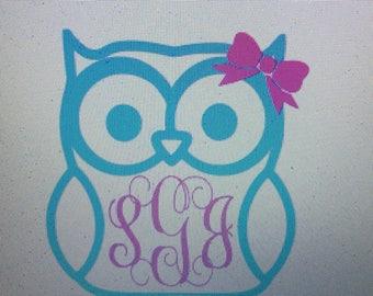 Iron On monogram owl / Decal / owl iron on / iron on decal / owl decal / iron on owl
