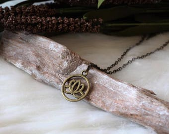 Handcrafted jewelry, Antiqued bronze choker necklace, lotus necklace